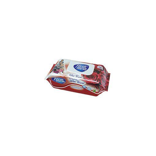 Fresh Mesh Family Care E- vitamin rózsa illatú  nedves tőrlőkendő fedeles 144 db