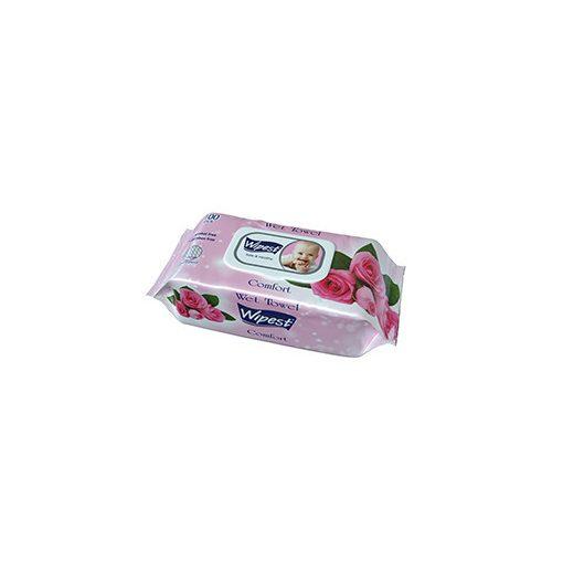 Wipest Comfort rózsa illatú parabénmentes baba nedves törlőkendő fedeles 100 db